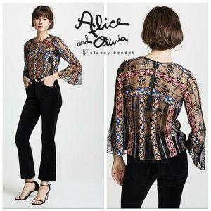 Alice + Olivia LARUE Blouse Sheer Lace Stripes M
